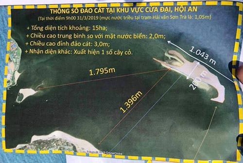 Thông số cồn cát trên biển Cửa Đại. Ảnh: Đắc Thành.