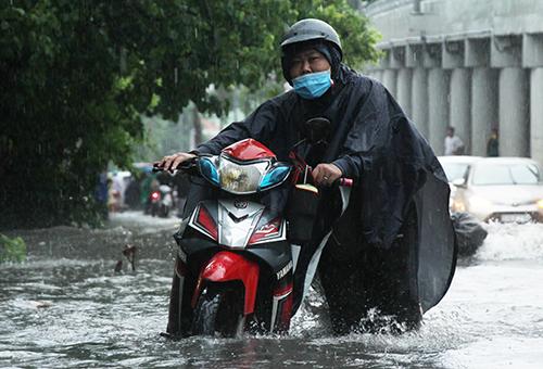 Xe chết máy dẫn bộ trên đường Nguyễn Hữu Cảnh. Ảnh: Duy Trần.