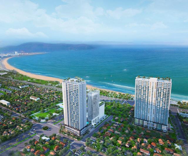 Quy Nhon Melody gồm 2 block cao 35 tầng, sở hữu 3 mặt tiền đường Nguyễn Trung Tín – Chương Dương – An Dương Vương.