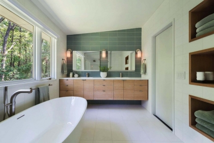 Nhìn ngắm vẻ đẹp khiến tim bạn rụng rời của những mẫu phòng tắm mang phong cách Midcentury