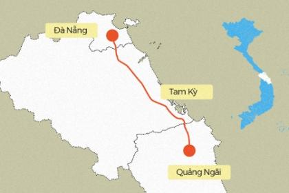 Đoạn tuyến bị hư hỏng trên cao tốc Đà Nẵng - Quảng Ngãi